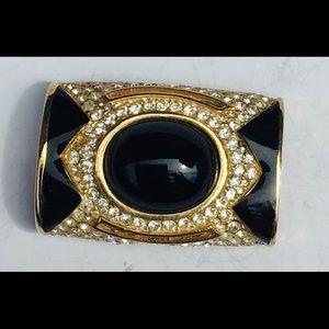 Vintage Ciner Scarf Holder Gold Black Onyx Stones